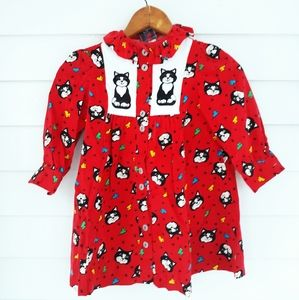 Girl's Vint Red Corduroy Cat & Mouse Dress Size 4T